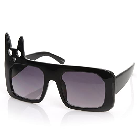 5b49d1643f Luxe Inspired Fashion Kitty Cat Head Large Square Oversized Sunglasses  (Black)