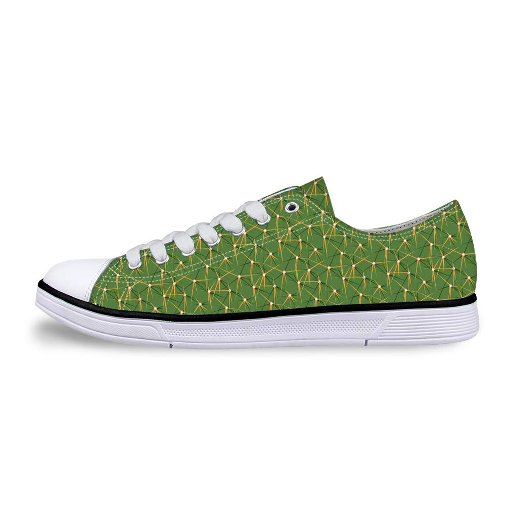 Canvas Low Top Sneaker Casual Skate Shoe Mens Womens Cacti Cactus Pricks Surface