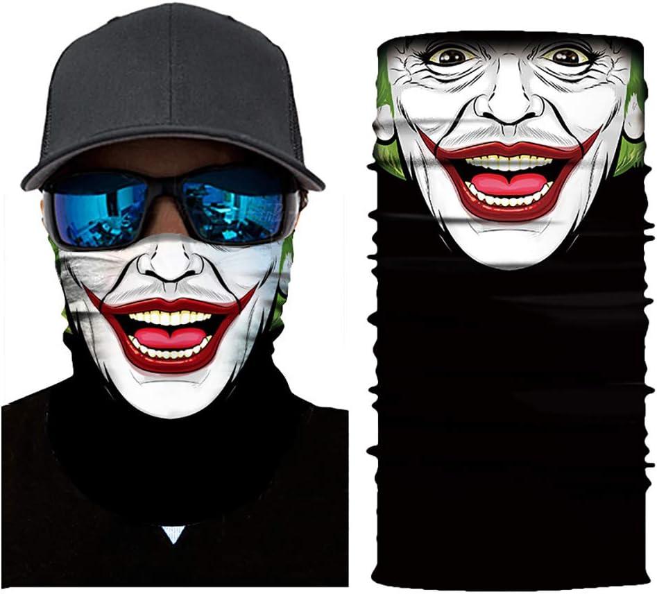 BONNIO Visage v/élo Masques de t/ête /écharpe 3D Joker mod/èle de cr/âne Masque Cache-Cou Masque Masque Facial