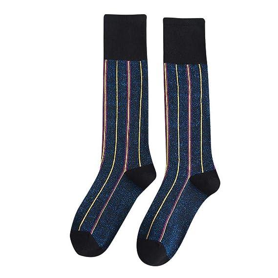 VJGOAL Moda casual para mujer Rayas Verticales Lentejuelas Estampado Calcetines a media pierna Calcetín de algodón transpirable(Un tamaño, Azul): Amazon.es: ...