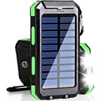 Solar Charger, 20000mAh Solar Power Bank Portable Charger for Camping External Battery Backup Charger with Dual 2 USB…