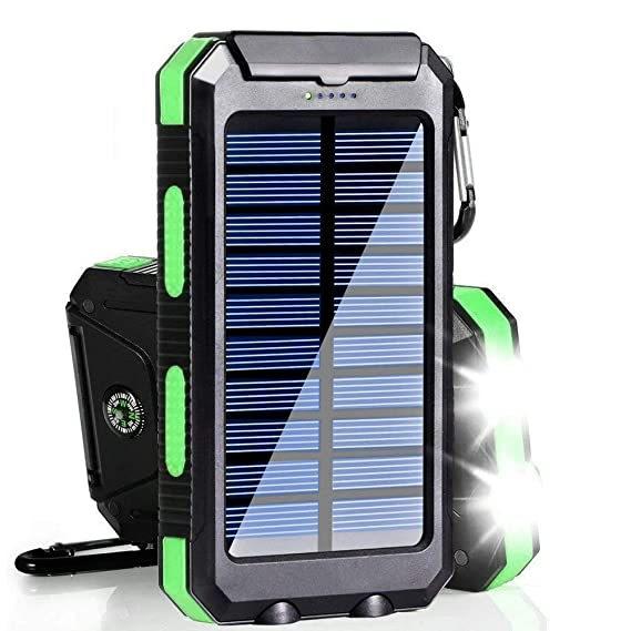 Solar Charger, 20000mAh Solar Power Bank Portable Charger for Camping External Battery Backup Charger with Dual 2 USB Port/LED Flashlights for iPhone ...