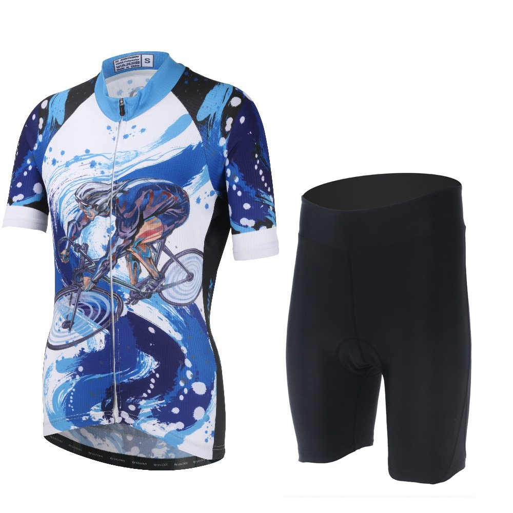 DuShow Multicolor Women's Short Sleeve Cycling Bike Bicycle Jersey 3D Padded and Shorts Set (S, Blue) by DuShow
