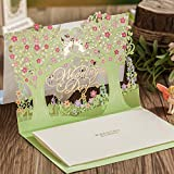 Wishmade Wedding Invitations Cards, Green, 100 Pieces, CW6026, Customized Printing