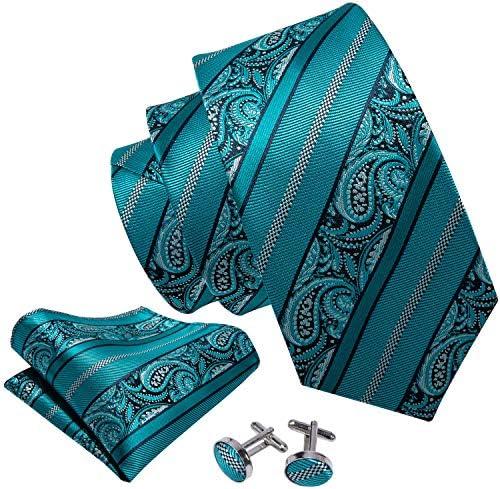 Barry.Wang - Juego de corbatas y gemelos cuadrados de bolsillo ...