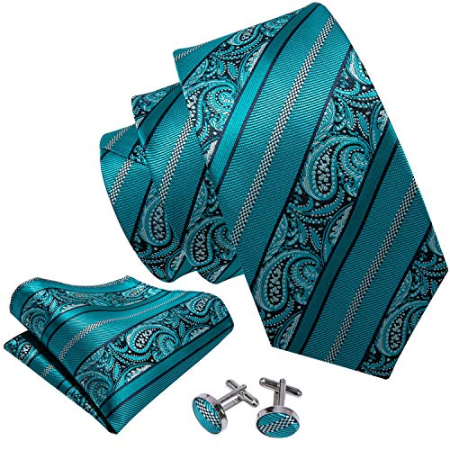 Barry.Wang Silk Neckties Teal Green Ties for Men Set with Hanky Cufflinks Woven