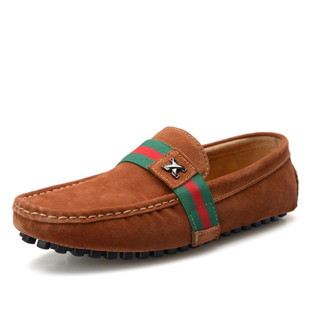HUAN Zapatos de Hombre Zapatos de Cuero de Gamuza Zapatos formales Mocasines y Slip-Ons Para Trabajo y Oficina Ocasionales Marrón, Azul Oscuro, Vino Tinto 38 EU|B
