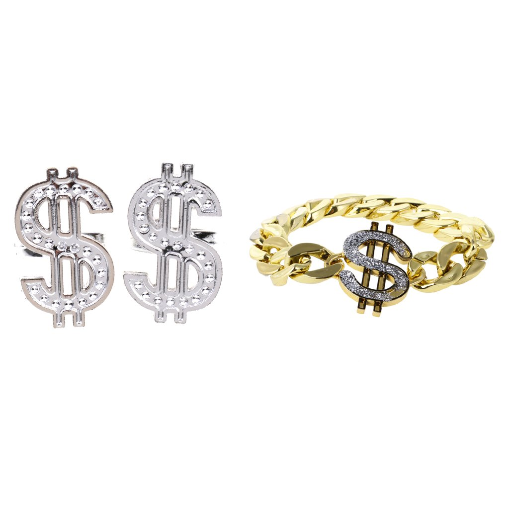 Jili Online Plastic US Dollar Sign Pack of 2 Silver Ring +Pack of 1 Gold Bracelet Fun Fancy Dress