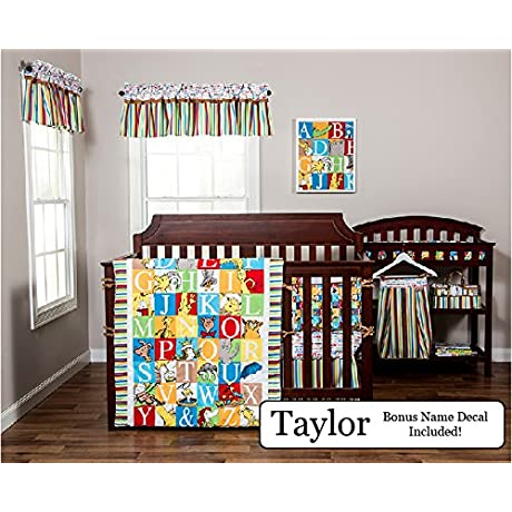 Trend Lab Baby Nursery Bedding Ensemble Set PLUS Personalized Name Decal Dr Seuss Alphabet 5pc Set