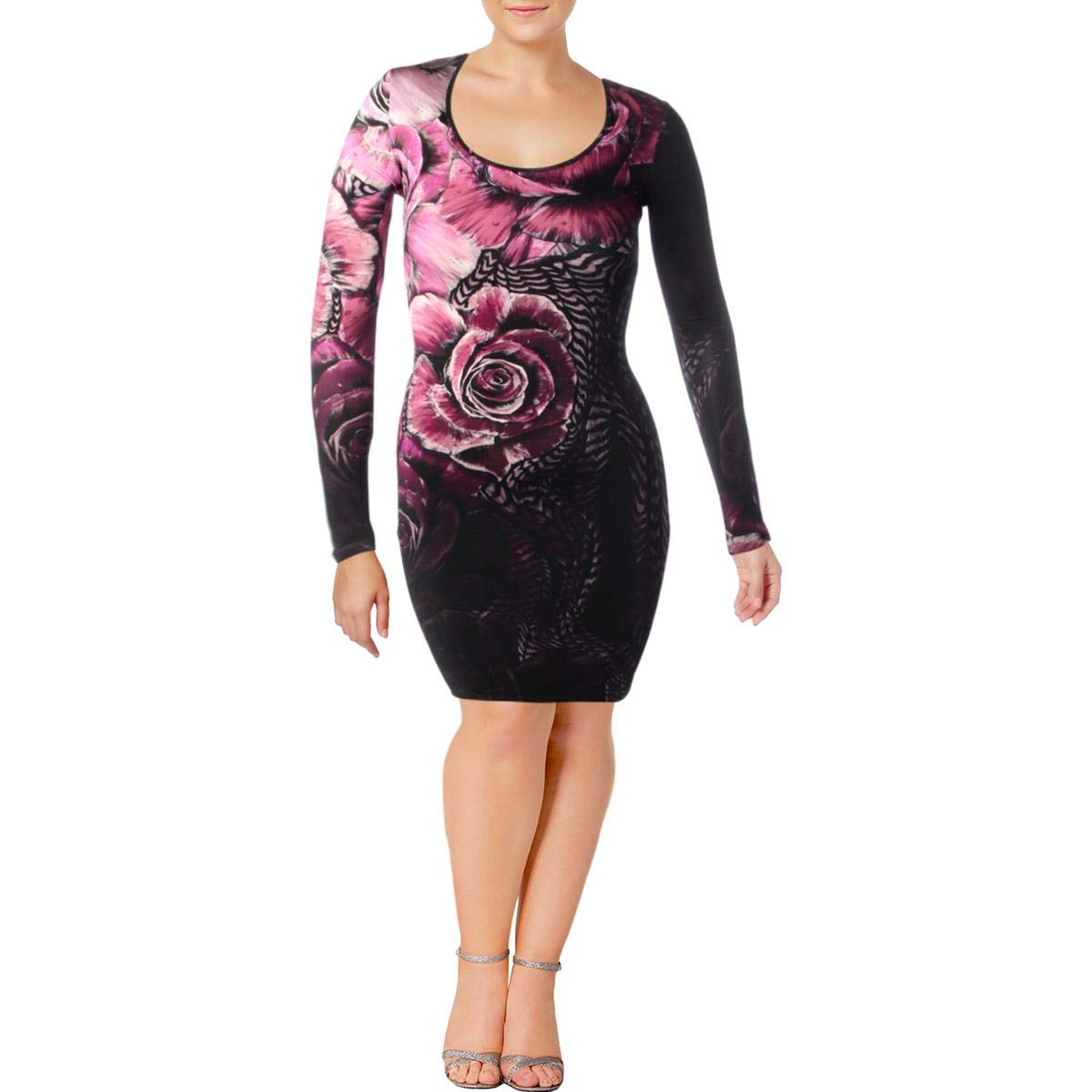 Purple Just Cavalli Womens Bodycon Floral Print Party Dress