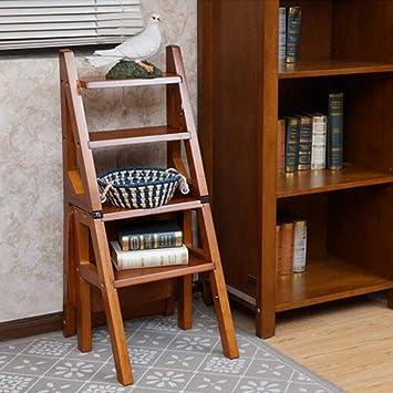 MJY Sillas de escalera plegable muebles modernos estante de madera escalera plegable Pliegue Biblioteca peldaños de la escalera Cocina uso de la oficina,color miel: Amazon.es: Bricolaje y herramientas