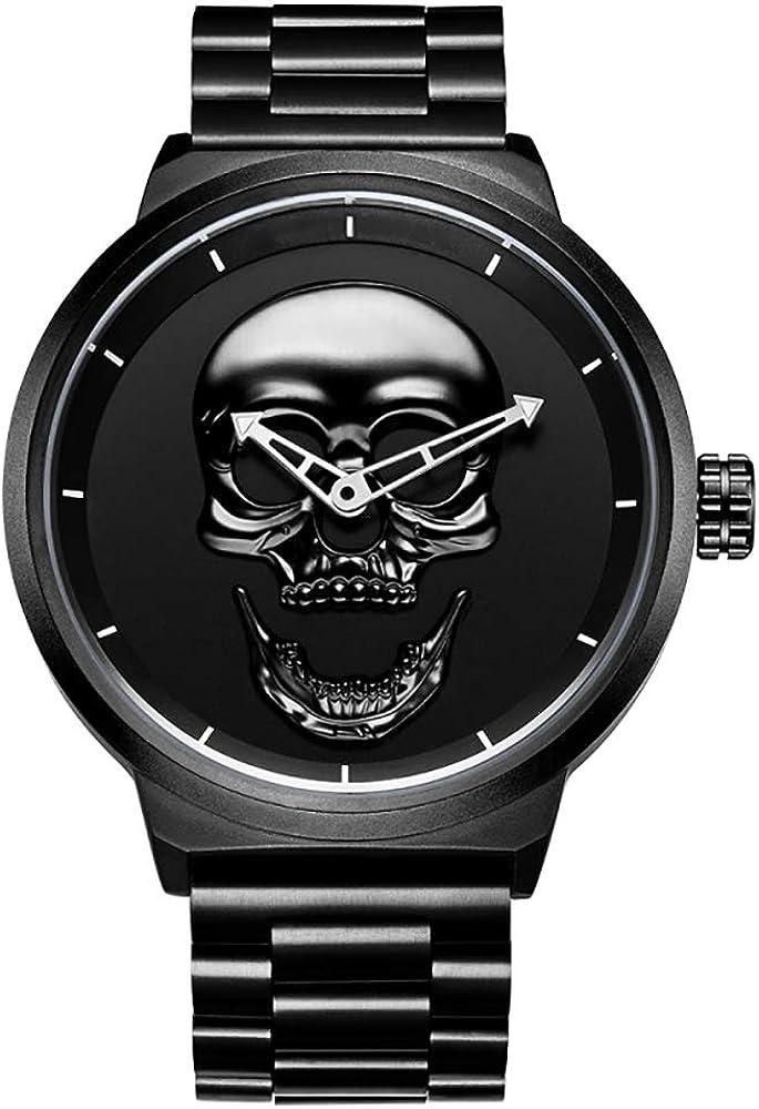 Zoyie Relojes de Calavera para Hombre Hip Hop Reloj de Pulsera de Cuarzo Fresco Reloj de Rapero de Lujo Helado con Correa de Acero Inoxidable Reloj de Pulsera Horas (30m a Prueba de Agua)