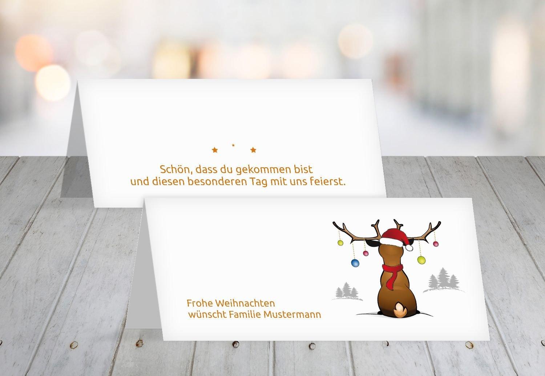 Kartenparadies Tischkarte Weihnachtstisch Tischkarte Rudolph, hochwertige Platzkarte für die Weihnachtsfeier (Format  100x44 mm) Farbe  Grasgruen B01N5OTITH | Qualitätskönigin  | Zart  | Deutschland Berlin