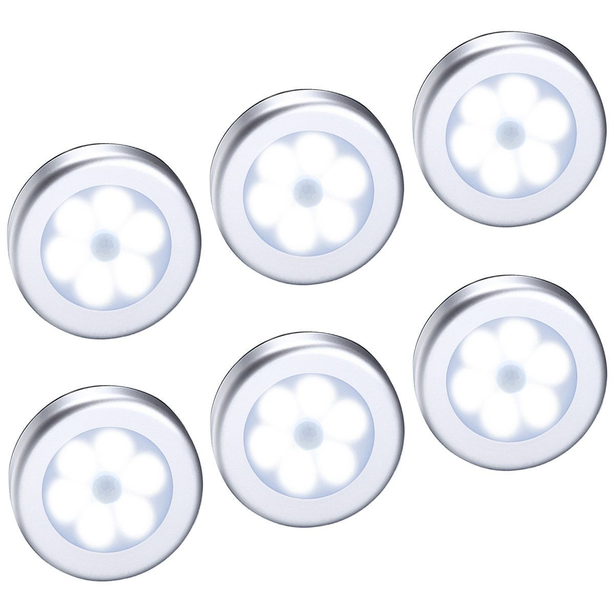 Criacr Motion Sensor Light, Under Cabinet LED Night Light, Closet Lights with 3M Adhesive Pads and magnet, Sensor Night Lights for Staircase, Cupboard, Wardrobe, Closet, Bedroom, Kitchen, etc. (6 LED, 6 Pack) -Silver