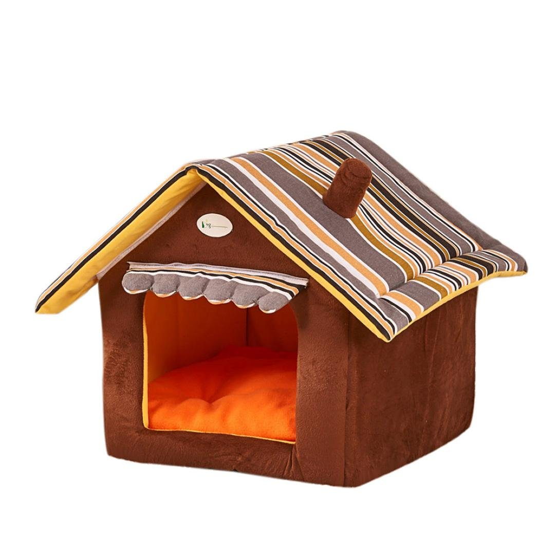 Brown Egmy New Foldable Pet Dog Cat House&Bed Pet Product House Soft Kennel Mat Pad Warm Puppy Cushion Basket Autumn Winter (Brown)