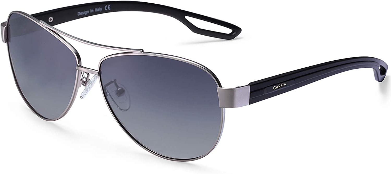 Carfia Mujeres Hombre gafas de sol Aviador polarizado de conducción con el caso - UV 400 Protección (D)