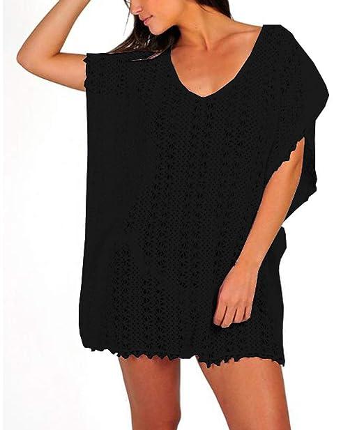 38b4896b45878 Women s Casual Swimsuits Cover Ups Lace Crochet Tunic Hollow Out Swimwear  Bikini Beach Dress Black