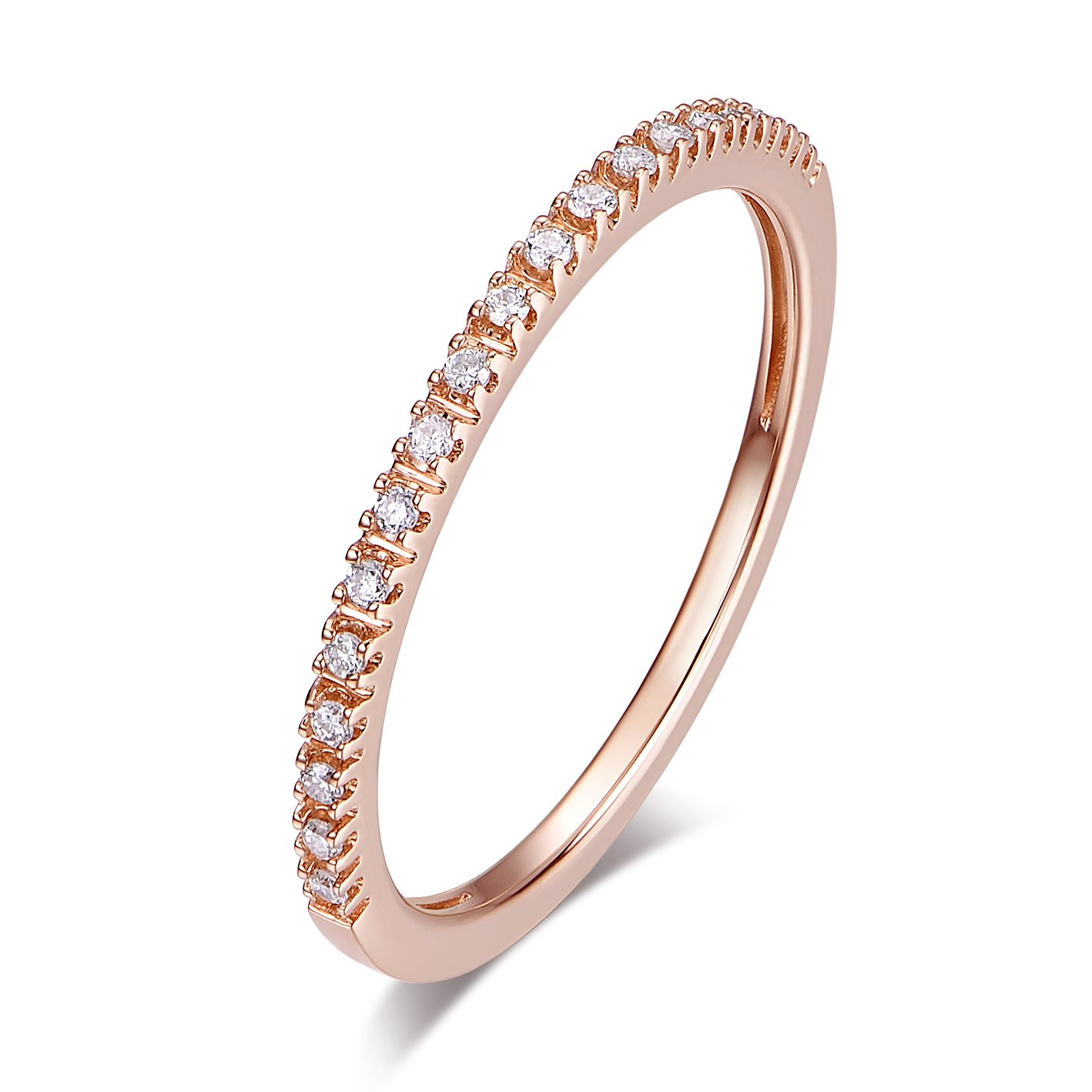 14K Gold Riviera Petite Micropave Diamond Half Eternity Wedding Band Ring for Women, 1.5mm (Rose-Gold, 6.5)