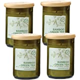 Paddywax Eco Green Recycled Glass Candle, 8-Ounce, Bamboo & Green Tea - Set of 4