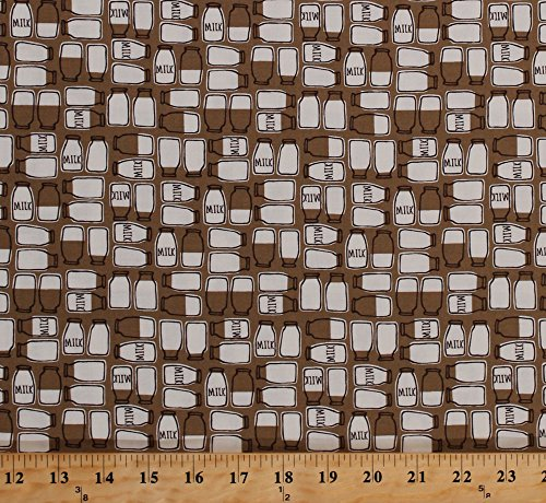 Cotton Farm Fun Milk Bottles Jugs Country Kitchen Brown Taupe Cotton Fabric Print by the Yard (20534-18)