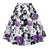 Dreagal Women Pleated 1950's Floral Print Skirts Midi Skirt Purple X-Small offers