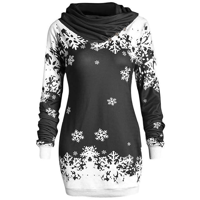 2524d6d88b2f Luckycat Damen Weihnachten Pullover Off Shoulder Langarmshirt Santa Claus  und Schnee Druck Sweatshirt