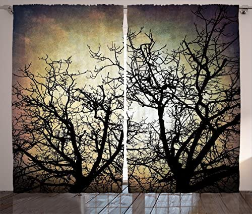 Ambesonne Horror Curtains, Scary Twilight Scene with Grunge Tree Branch Silhouette Over Dirty Night Sky Image, Living Room Bedroom Window Drapes 2 Panel Set, 108 X 63 , Sepia Black
