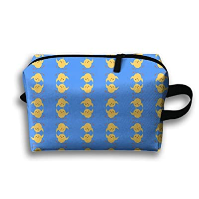 56e464b0c120 Blue Easter Wallpaper With Chicken Travel Bag Cosmetic Bags Brush ...