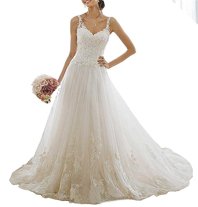 XUYUDITA Vestido de novia de encaje con cuello en V de las mujeres vestidos de novia con cuentas apliques tirantes vestido de novia: Amazon.es: Ropa y ...