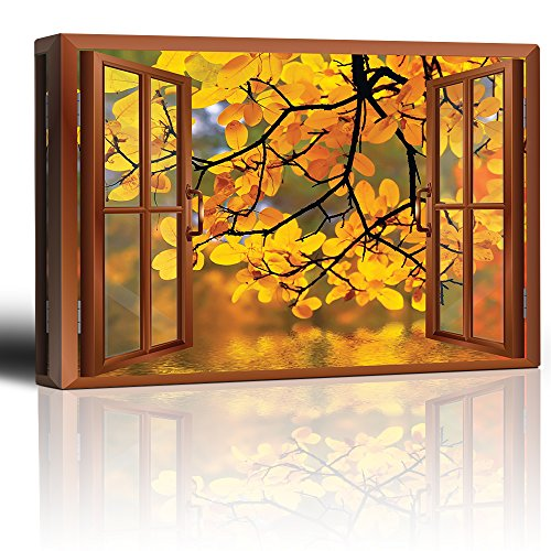Copper Window Looking Out Into a Yellow Tree Framing a Lake