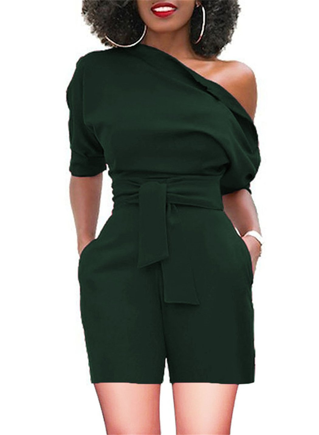 Women's One Off Shoulder Cocktail Short Rompers Pockets Green Small