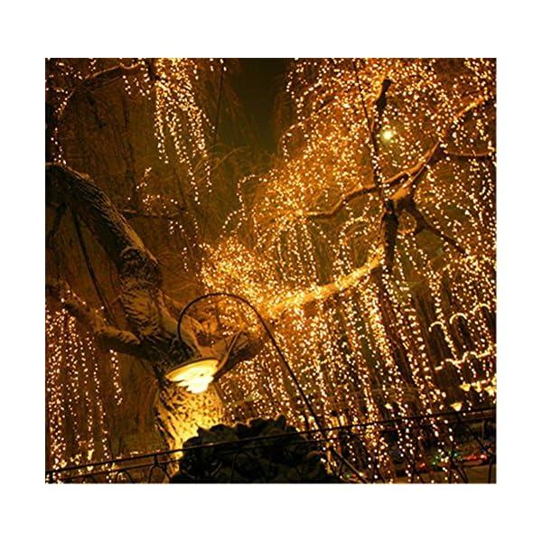 LED Tenda Luminosa, Catena Luminosa, Luci cascata, Luci per Tende, 216 LEDs 5M Natale Luci Stringa Bianco Caldo 8 Modalità Impermeabili IP44, per Natale finestra, porta, patio, giardino, feste 5 spesavip