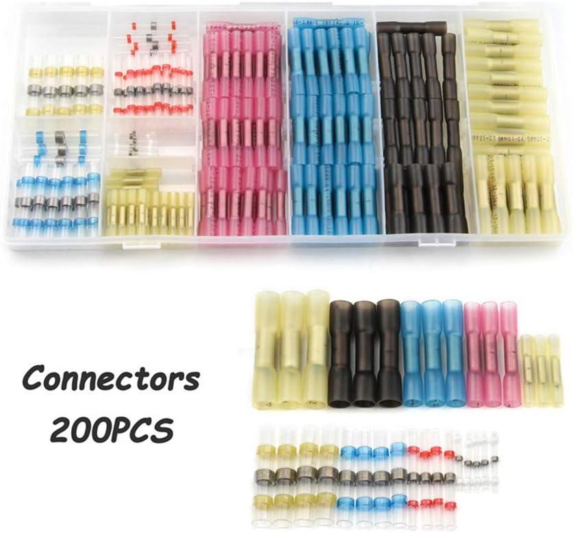 50pcs DeoMeat Encogimiento de Calor Terminales Butt Manguitos de Soldadura de Cables el/éctricos Conectores para no Crimp Color Mixto