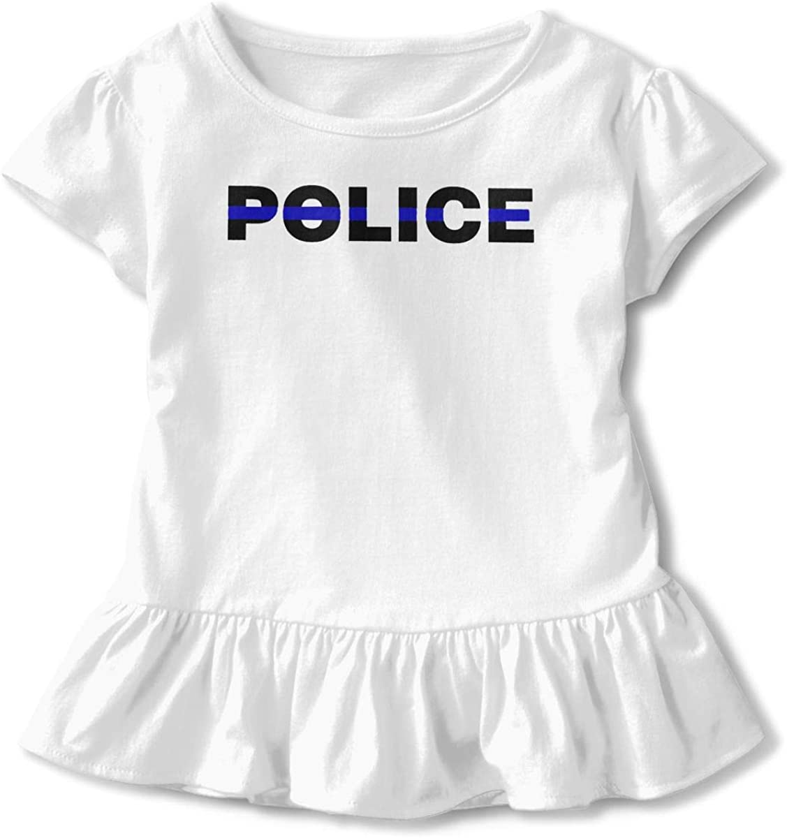 SC/_VD08 Blue Thin Line Police Baby Girls Short-Sleeved Tshirts Sportwear
