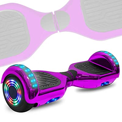 TechClic Electric Hoverboard Self-Balancing 6.5 Inch Wheel Built in Speaker LED Headlight UL Certifie (Chrome Purple): Toys & Games