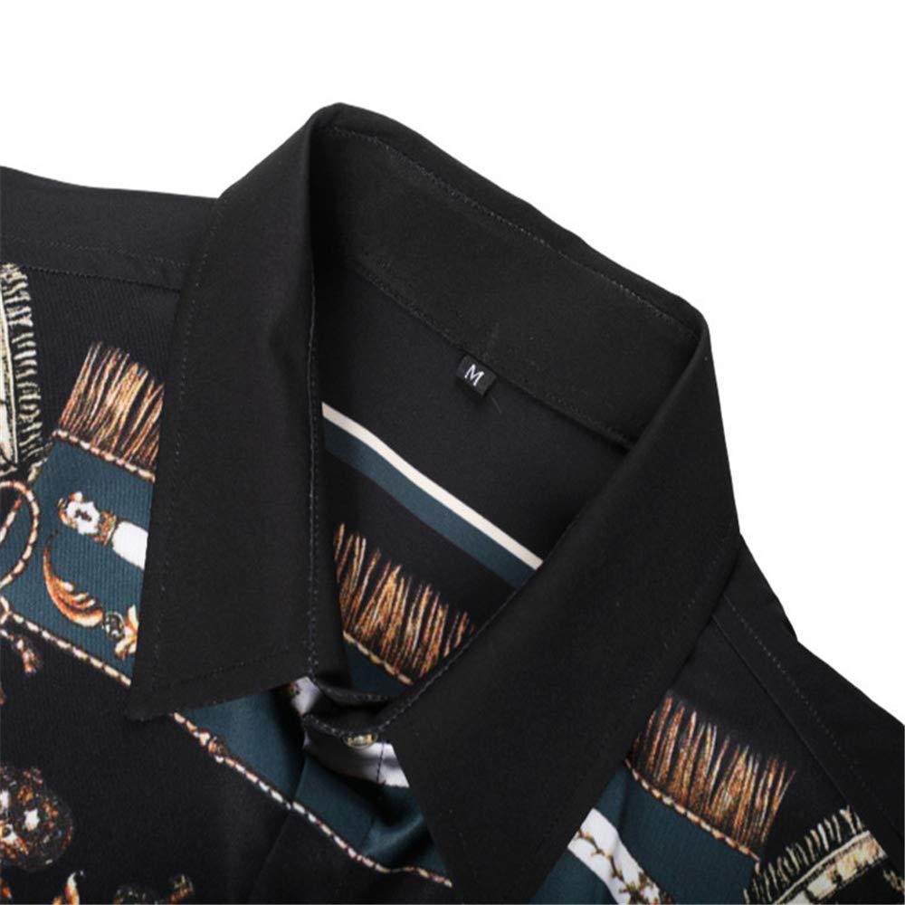 HERW Mens Slim-Fit Printed Polyester Tropical Hawaiian Casual Shirt