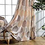 KoTing Brown Leaf Valance Blackout Lined Drapes 1 Panel Cotton Linen Big Leaf Blackout Short Curtain Small Size Drape Grommet 30W by 32L-Inches For Sale