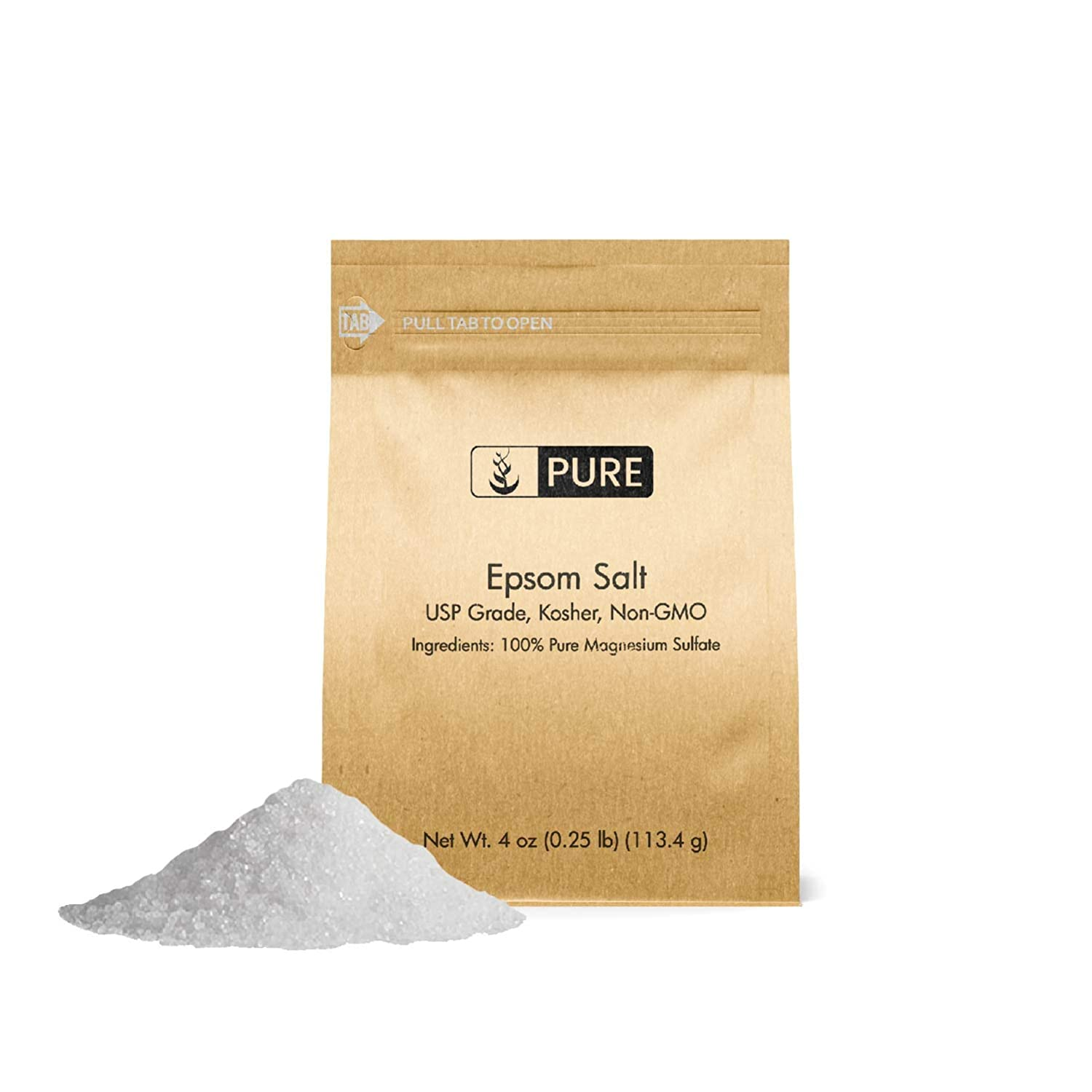 Epsom Salt (4 oz.) by Pure Organic Ingredients, Magnesium Sulfate Soaking Solution, All-Natural, Highest Quality & Purity, USP Grade
