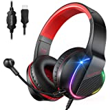 bopmen USB Gaming Headsets-7.1 Surround Sound with Environmental Noise Canceling Boom mic Stereo Sound On Ear Headphones with