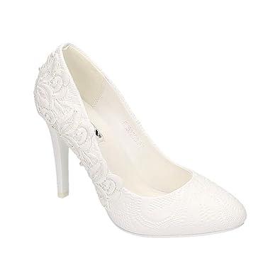 Damen Pumps Schuhe Elegant High Heels Bequeme Beige 40 tib66bWO