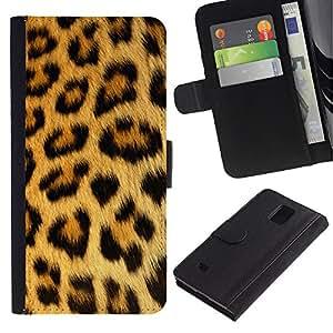 """Samsung Galaxy Note 4 IV / SM-N910 , la tarjeta de Crédito Slots PU Funda de cuero Monedero caso cubierta de piel ("""" Panther Leopard Pattern Fur Brown Spots"""")"""