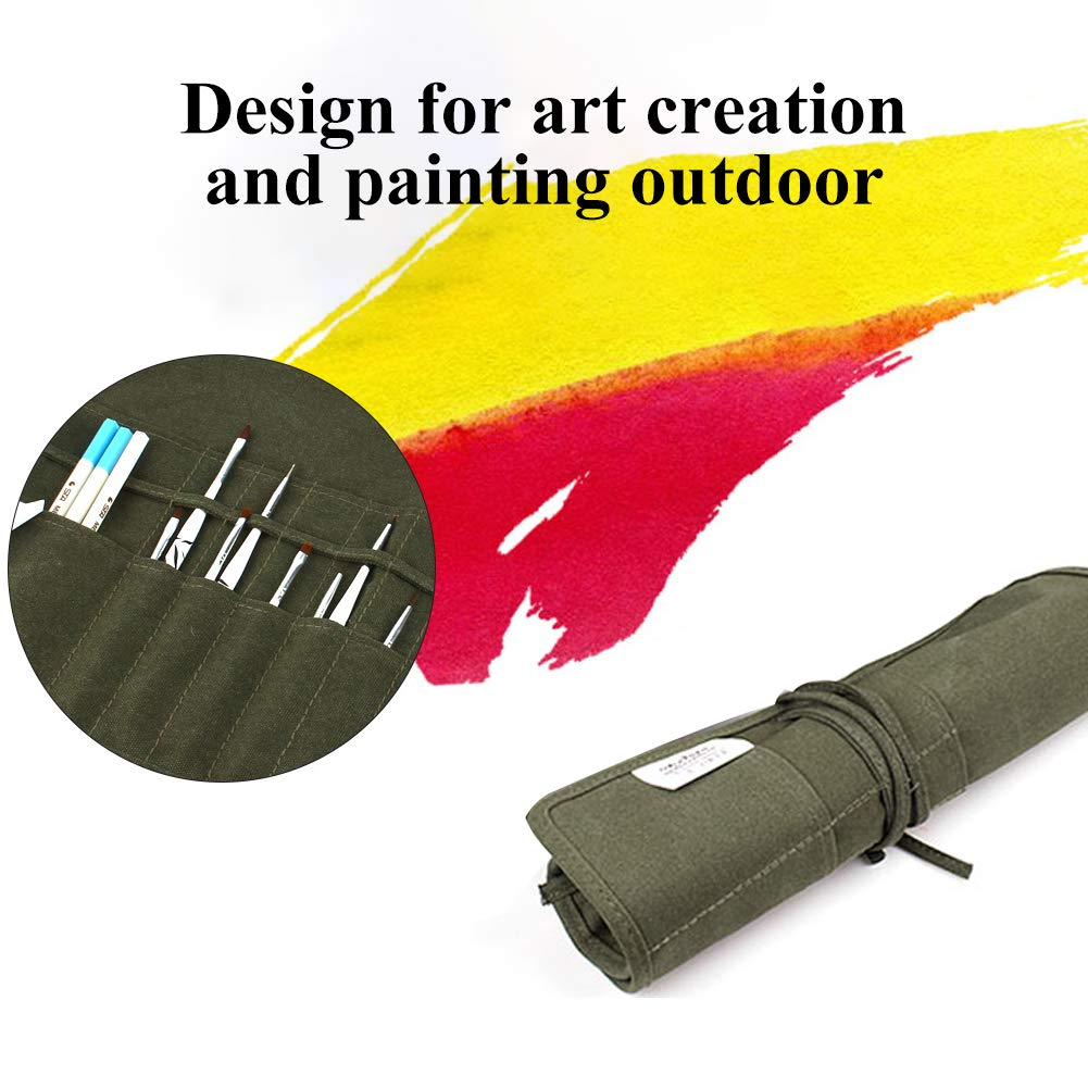 22 Slots Artist Paint Brush Roll Up Bag Holder Canvas Pouch For Draw Pen Watercolor Oil Brushes Yosoo 4336938558