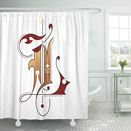 Emvency Shower Curtain ABC Alphabet Gothic Initial L Bronze Effect Medieval Book Curtains Sets With
