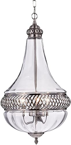 Permin Empire Clear 13-inch Glass and Metal Pendant