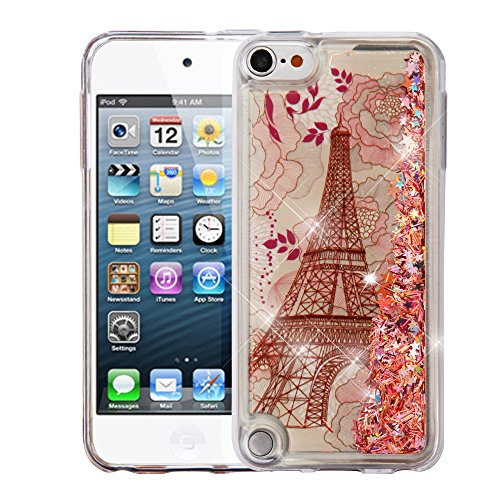 MYTURTLE Shockproof Hybrid Case Hard Silicone Shell High Impact Cover with Stylus Pen and Screen Protector for iPod Touch 5th 6th Generation, Quicksand Eiffel Tower Pink ()
