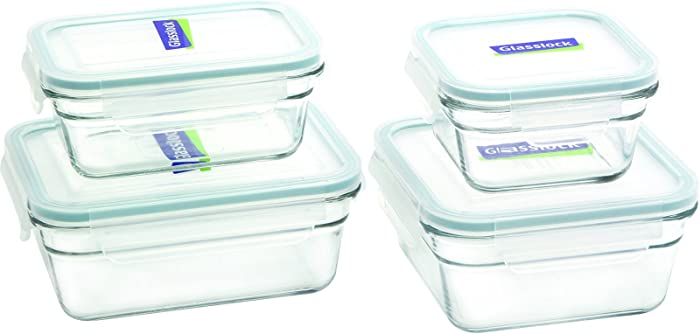 Glasslock 11368 2 Rectangle and 2 Square Assorted Oven Safe Container Set, 4-Piece