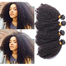 Worldflying@7A Mongolian Kinky Curly Hair Extensions 3 pc 150 Gram Afro Kinky Curly Virgin Human Hair Weave Natural Black