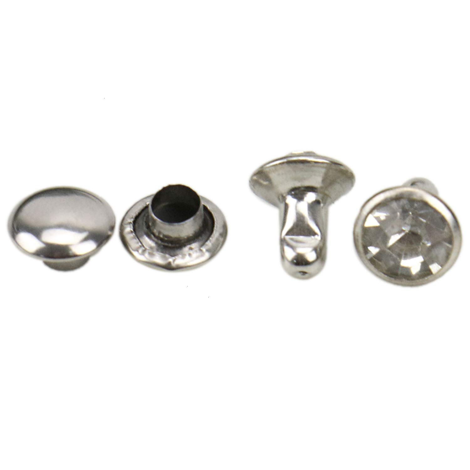 6mm JETEHO 100 Sets Crystal Rapid Rivets Studs Double Cap for DIY Leather Craft Bag