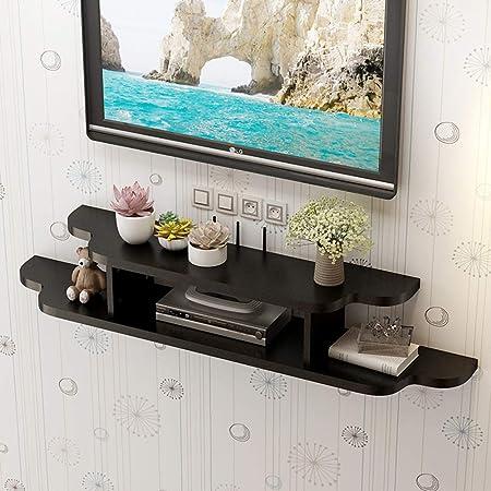 Negro Tamaño pequeño Bastidor flotante Estante para televisor Estante para TV Consola de TV Organizador de la caja de almacenamiento Estante para DVD Estante de cable Soporte para pantalla de florer: Amazon.es: