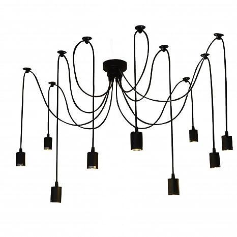 Lixada Lámpara de Techo Araña con 9 Brazos (Cada Uno con Cable 2m) Antiguo Clásico Ajustable Retro DIY Lámpara pendiente para E27 para Salón Comedor ...